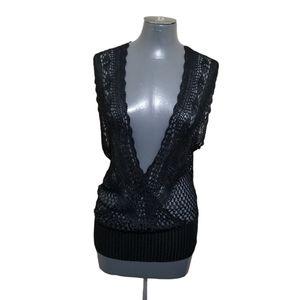 Parisian Crochet Black Wrap Top L Nwt